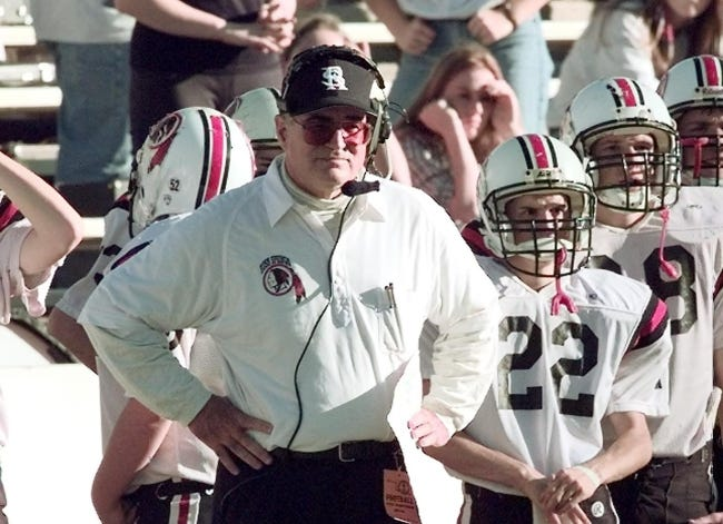 Joe Tunnell, pictured in 1998 coaching the Rush Springs football team, died last week at age 83. In 41 years coaching high school football, he went 322-137-7. [OKLAHOMAN ARCHIVES]