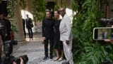 Stars Alexander Skarsgard, Richard Madden and Samuel L. Jackson attend the Giorgio Armani show in Milan. (June 18)