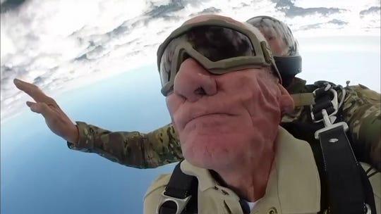 'I'm going to do it until I'm 100': At 98, D-Day vet Tom Rice parachutes again