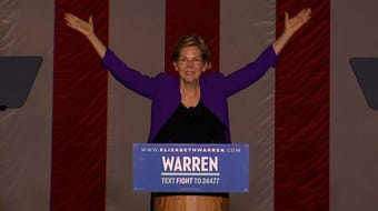 """Facing thousands of cheering supporters in New York City, Democratic presidential contender Elizabeth Warren on Monday decried President Donald Trump as """"corruption in the flesh"""" and outlined her plans to root out corruption in government. (Sept. 17)"""