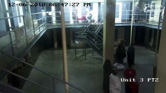 Surveillance video shows inmates hauling Dominique Griffin across a housing unit at the Hinds County Detention Center after an alleged attack.