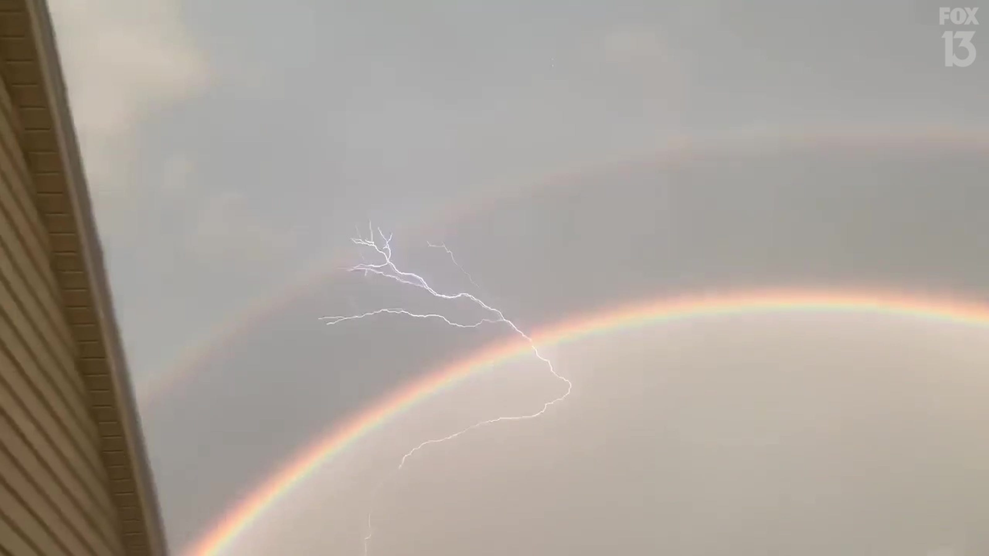 'Oh my gosh': It's a double rainbow with lightning