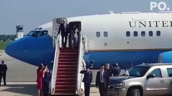 Vice President Mike Pence arrived at Hagerstown (Md.) Regional Airport on Air Force Two on Aug. 1, 2019, ahead of a visit to Manitowoc Cranes near Greencastle.