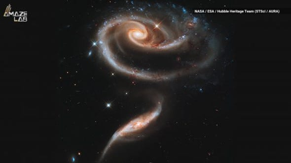 Meet Arp 273… two interacting galaxies that have come together to form a beautiful rose in the cosmos!