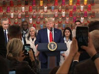 President Donald Trump toured a new Louis Vuitton leather workshop in Texas on Thursday before headlining a campaign rally in Dallas. (Oct. 17)