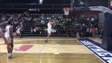 """At Thursday night's """"Midnight Madness"""" celebration for USI basketball, the men's team showed off their dunking skills. Chucky Wilson was the winner."""