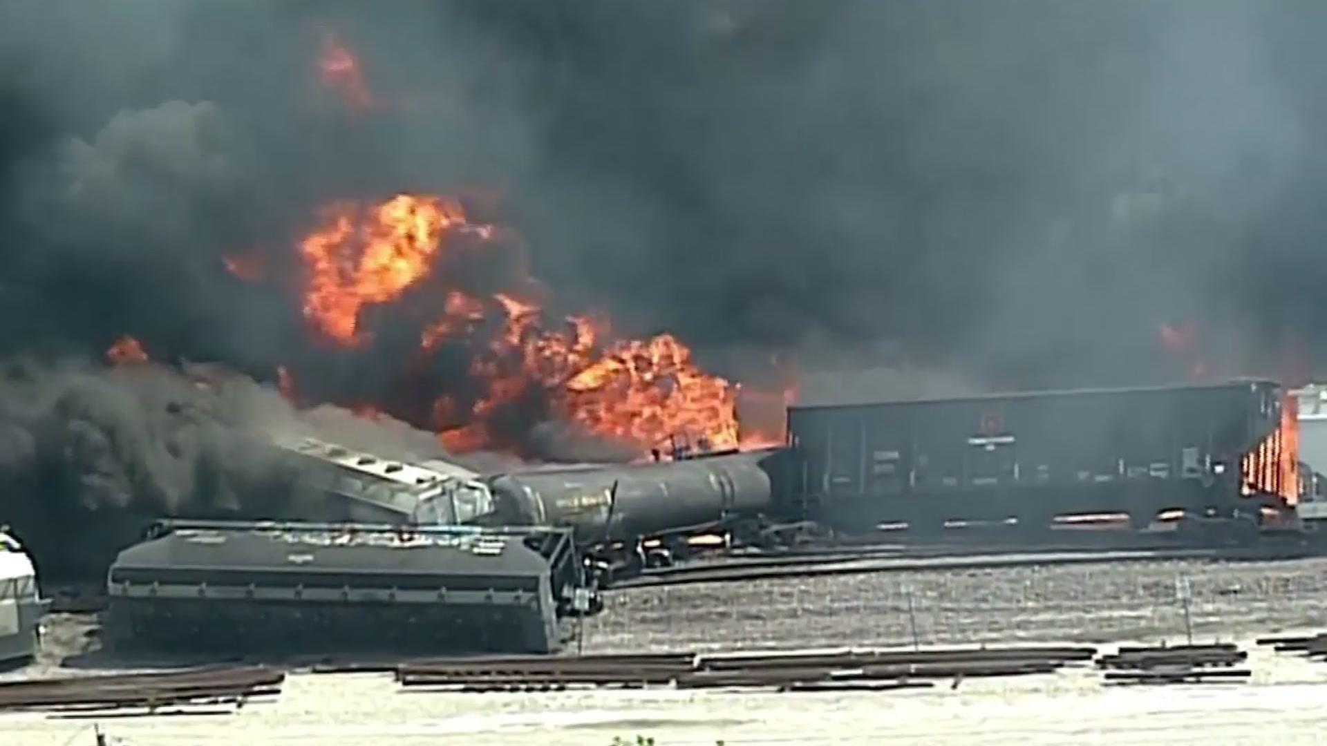 Schools, homes evacuated after train derailment