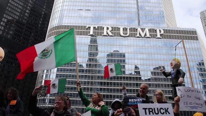 Chicago protesters march as Trump visits his hotel
