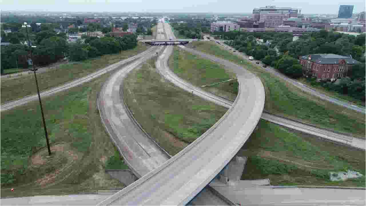 Drone views of closed I-70