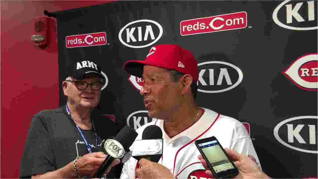 newest collection 7c641 b3b8e Acting Cincinnati Reds manager Freddie Benavides after beating Los Angeles  Angels