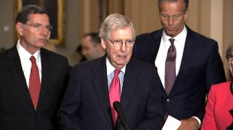 "Senate Majority Leader Mitch McConnell says President Donald Trump is ""not a racist"" after Trump tweeted over the weekend that four congresswomen of color should return to their native countries. All of the congresswomen are American citizens. (July 16)"