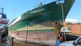 The Voici Bernadette, a 180-foot-long green cargo freighter will be sunk about 11 miles southeast of the Fort Pierce Inlet on June 23, 2019.