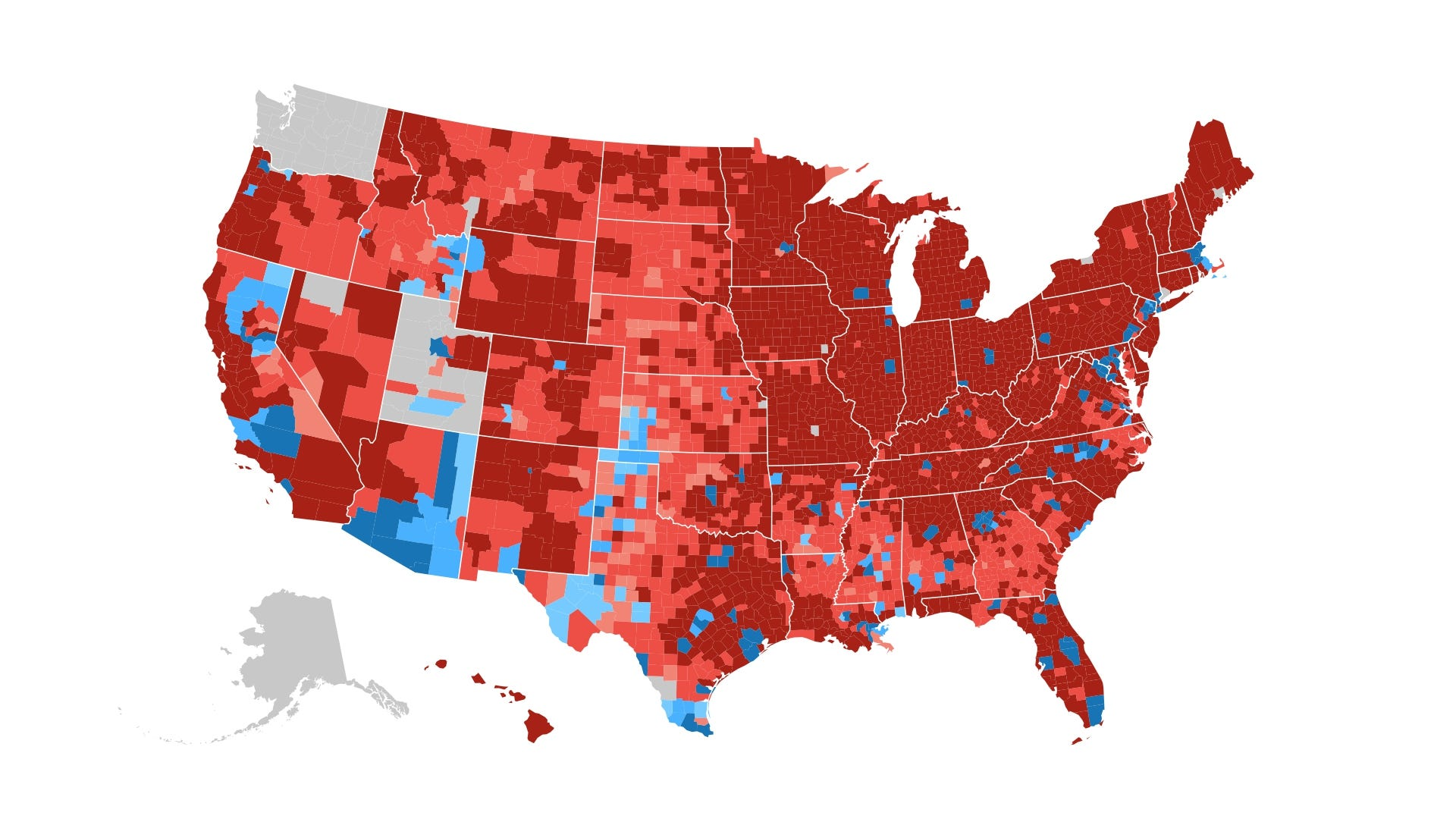 How The Election Unfolded Usa Today - Us-map-popular-vote-2016