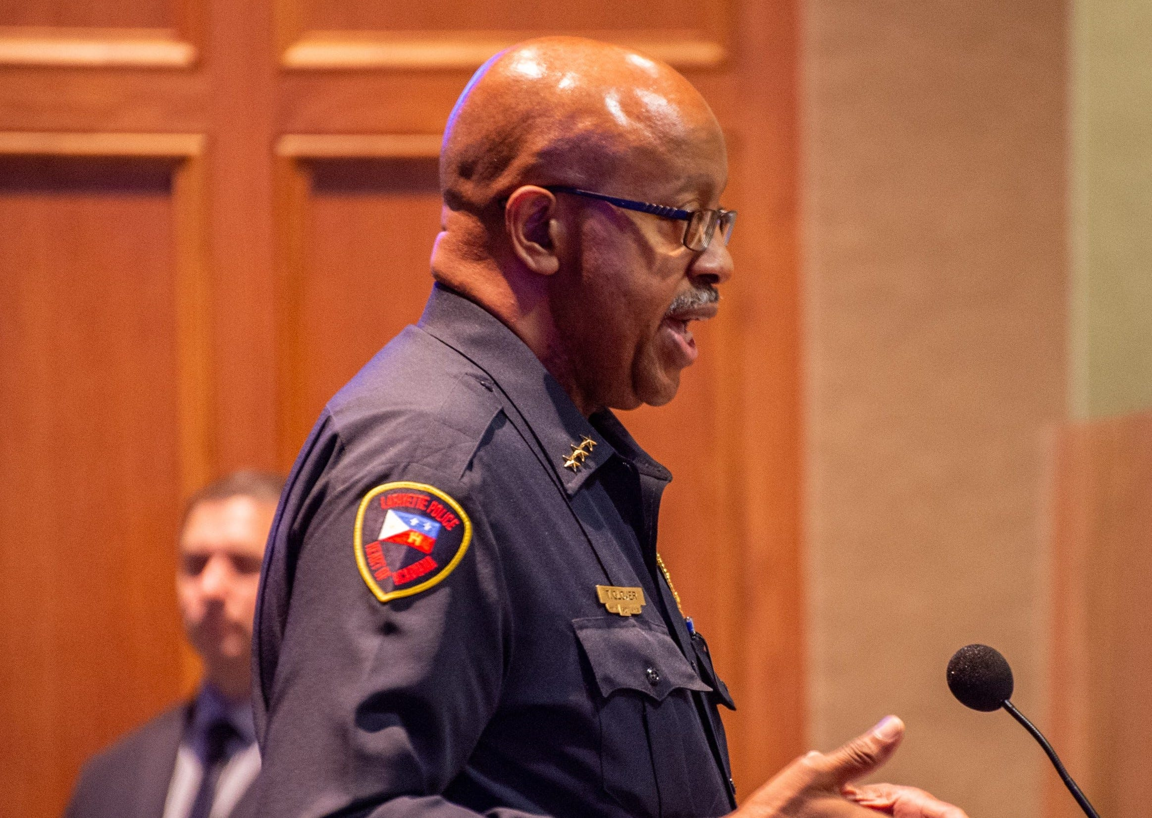 Lafayette Police Chief Thomas Glover at a meeting.