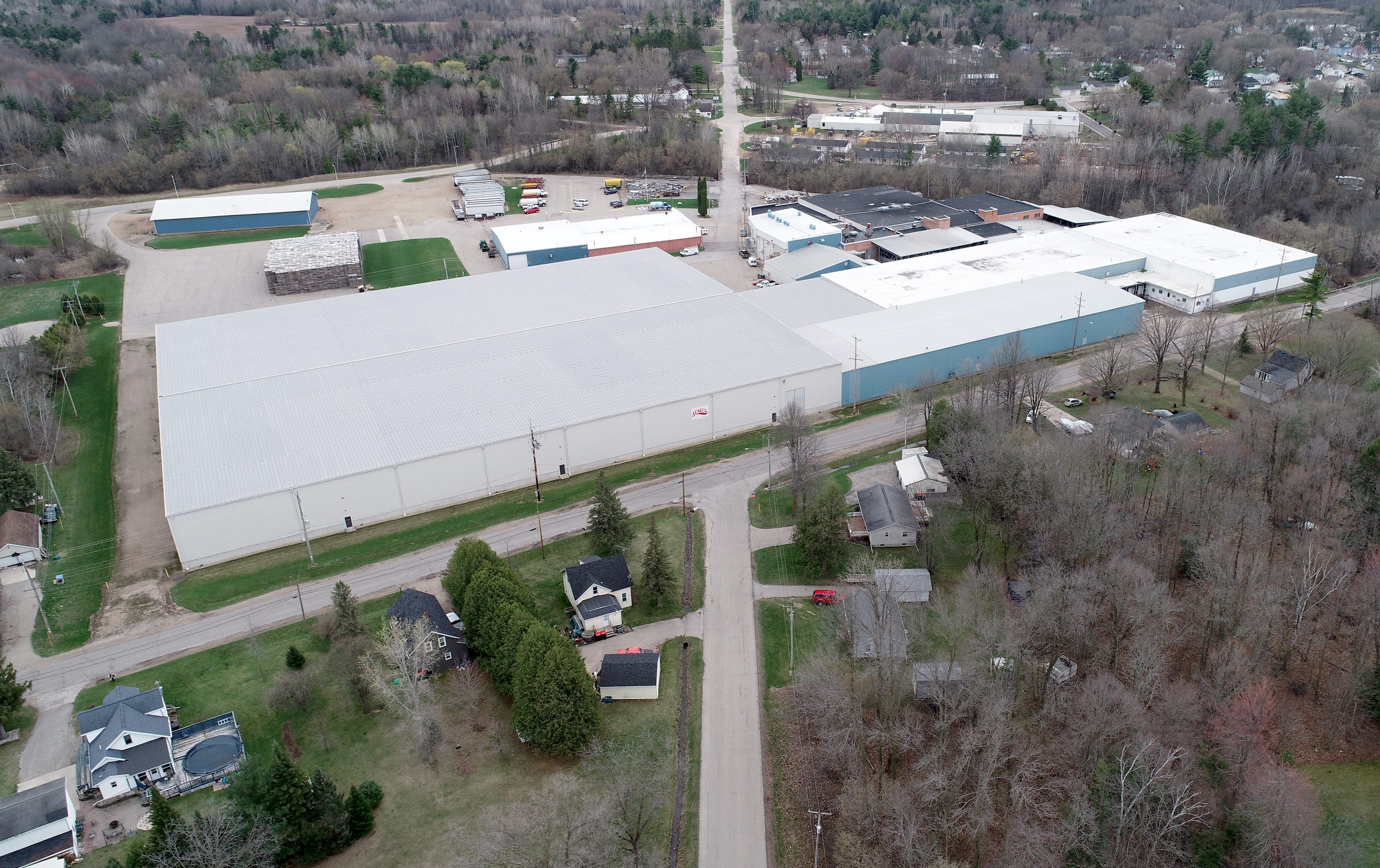 A drone image of Seneca Food plant in Gillette, Wis.