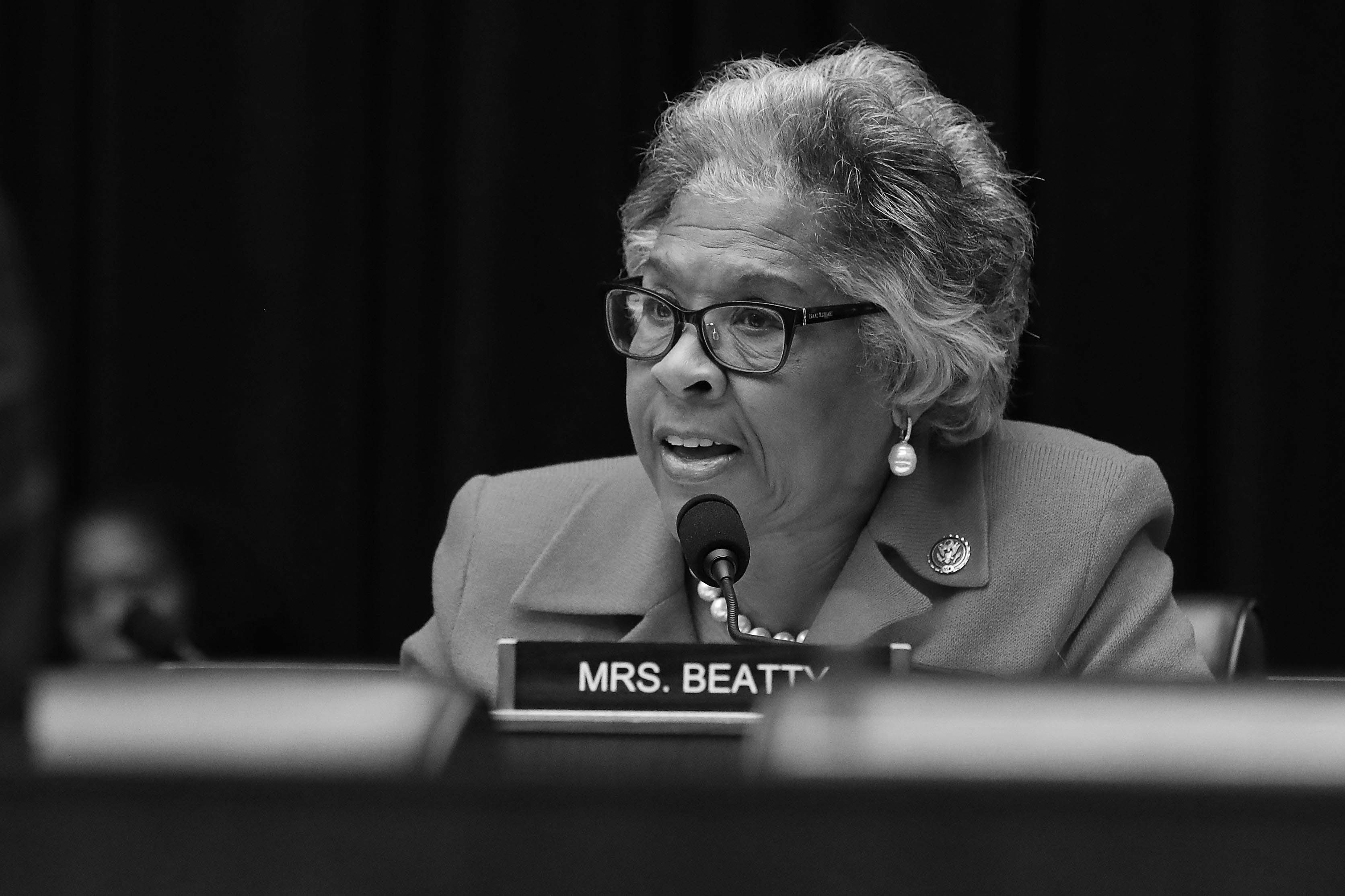 House Financial Services Committee member Rep. Joyce Beatty (D-OH) questions Facebook co-founder and CEO Mark Zuckerberg during a hearing in the Rayburn House Office Building on Capitol Hill.