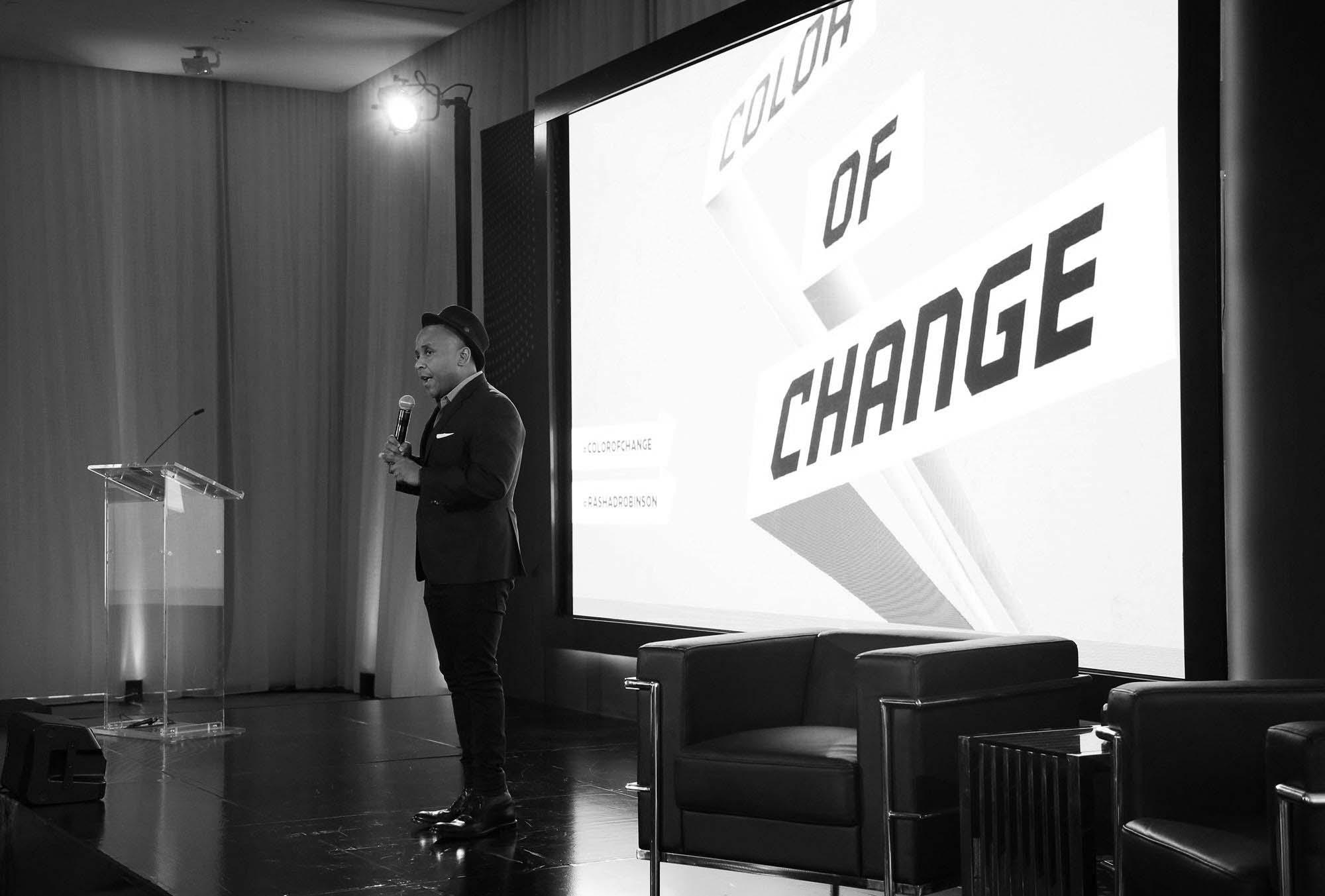 Rashad Robinson speaks at META.