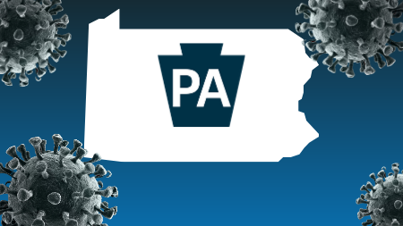 Pennsylvania surrounded by virus