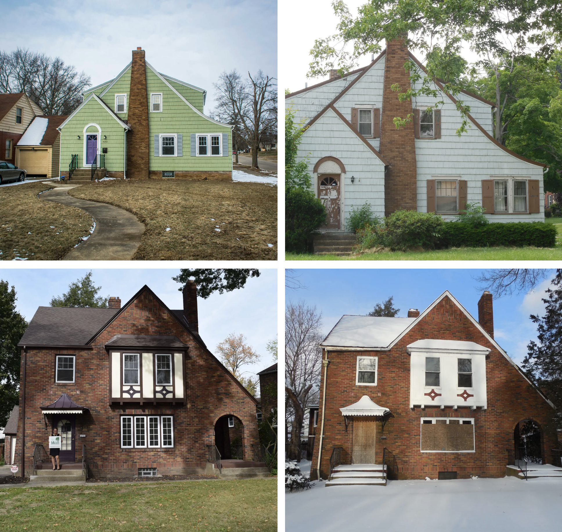 Grouping of four renovated homes