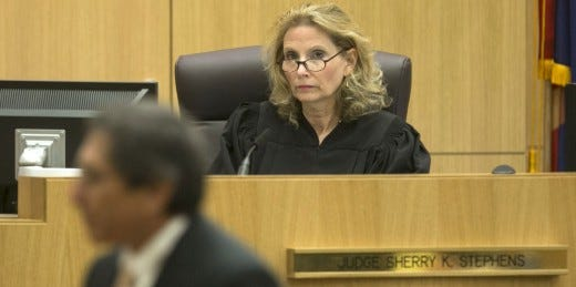 Maricopa County Superior Court Judge Sherry Stephens says she never observed former prosecutor Juan Martinez say or do anything sexually inappropriate to any court staff member, according to Martinez's lawyer.