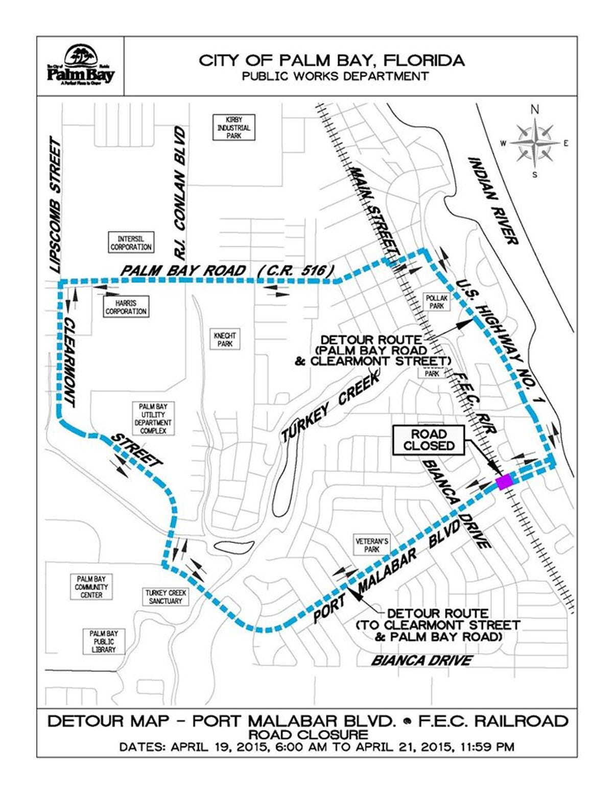 Florida Road Map 2015.Port Malabar Blvd To Be Partially Closed Sun Tues
