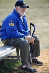 """Buena superfan Charles """"Pop"""" Fellenbaum honored by Chiefs as squad names dugout after him on May. 20, 2015. Fellenbaum passed away on Friday. He was 90."""