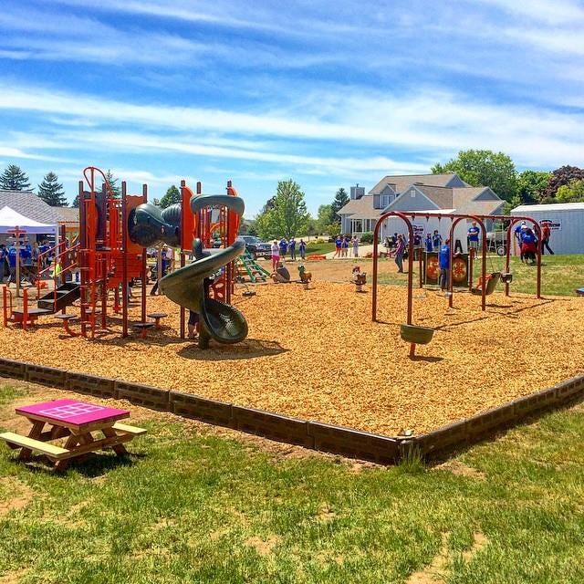 After only six hours Saturday, the new playground at the Sturgeon Bay YMCA is almost done. Nearly 200 vocal volunteers from the community helped make this project a reality.