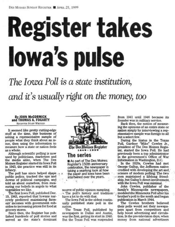 The Register's Iowa Poll is one of a kind; here's why