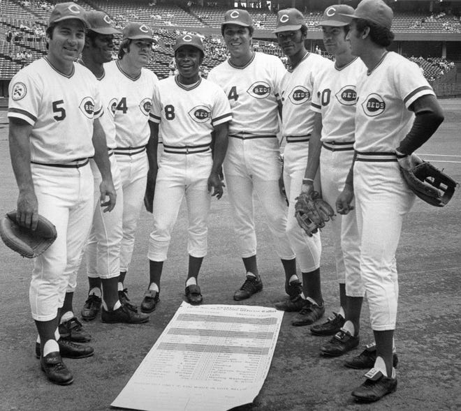 "Members of the Cincinnati Reds' ""Big Red Machine"" baseball team. Great Eight starting lineup, from left to right: Catcher Johnny Bench, right fielder Ken Griffey, third baseman Pete Rose, second baseman Joe Morgan, first baseman Tony Perez, left fielder George Foster, center fielder Cesar Geronimo and shortstop Dave Concepcion, are shown in this file photo."