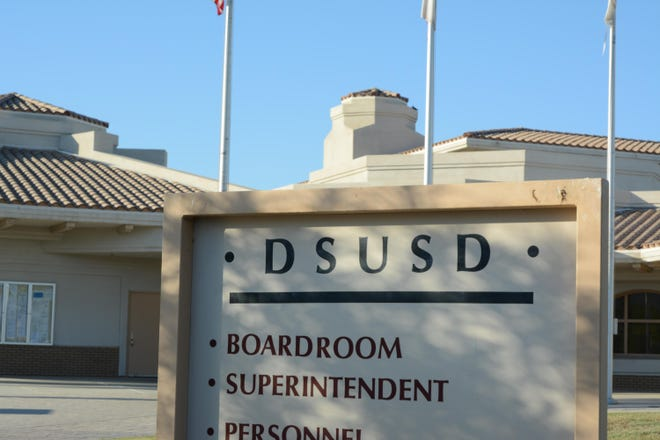 Teachers gathered at The Desert Sands Unified School District's Tuesday board meeting.