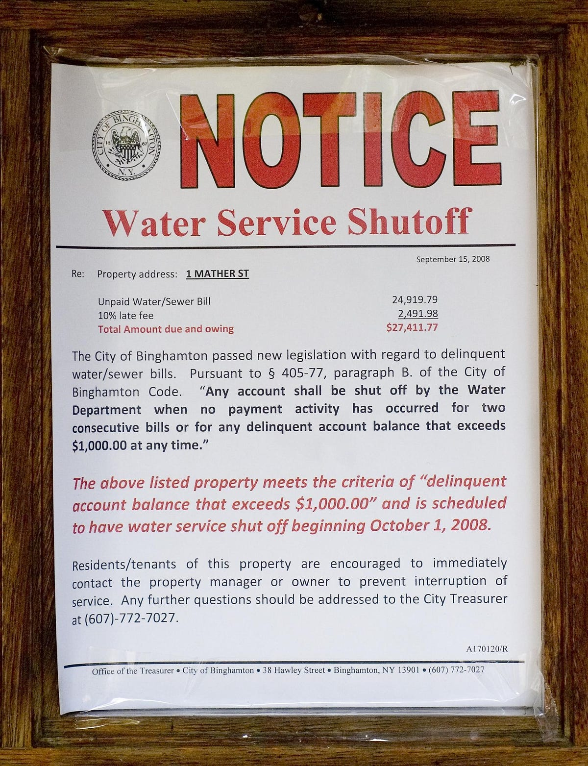 City falling behind in collecting overdue water bills