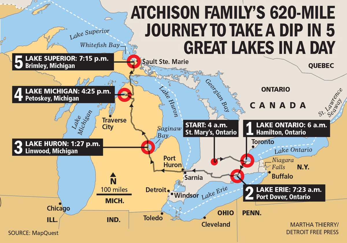 Map Of Canada 5 Great Lakes.Canadian Trio Swim All 5 Great Lakes In Single Day