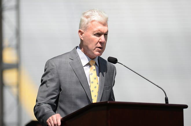 Green Bay Packers general manager Ted Thompson talks about football operations during the annual shareholders meeting July 28, 2015, at Lambeau Field.