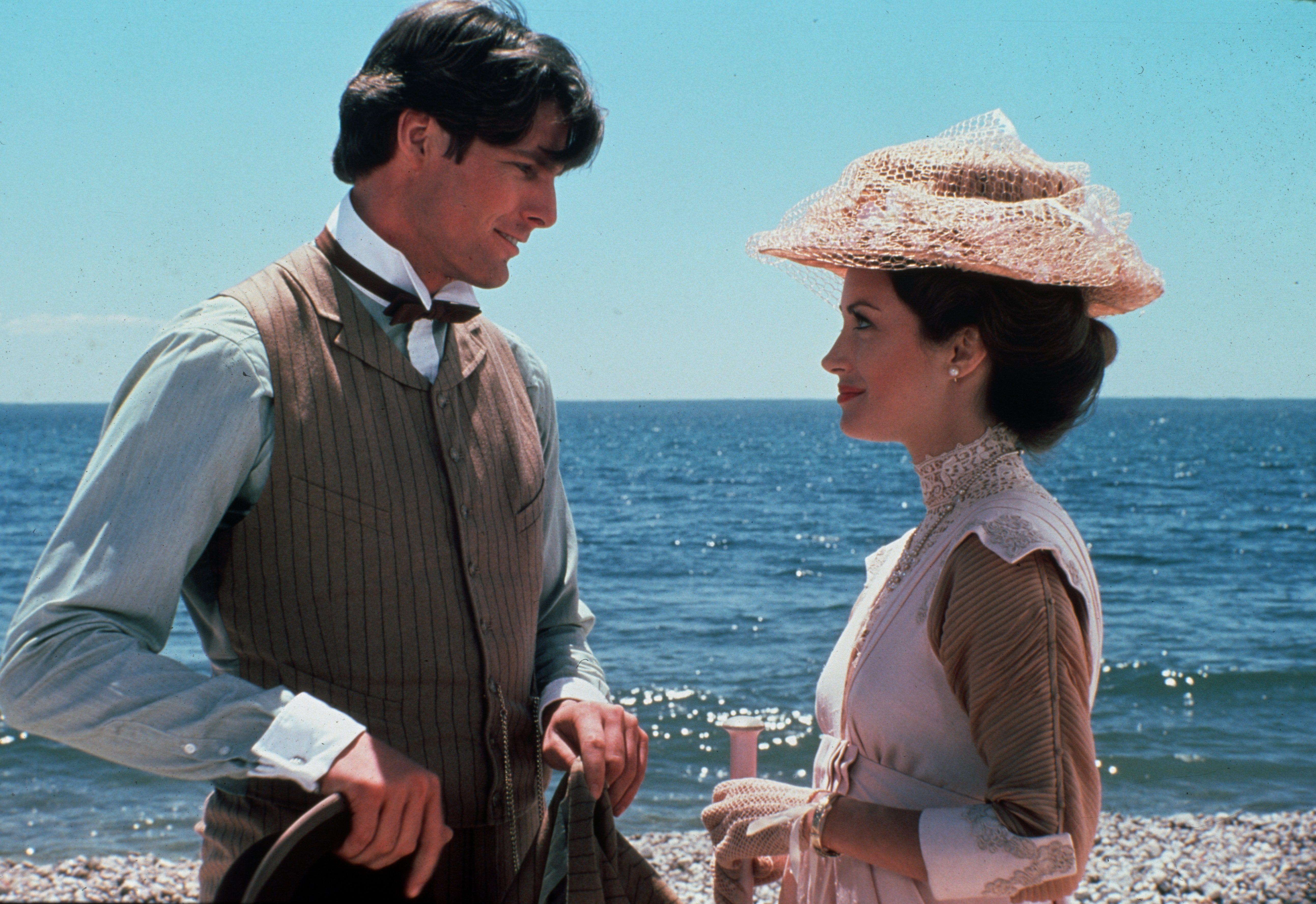 """Richard (Christopher Reeve) finally finds Elise (Jane Seymour) in the romantic fantasy """"Somewhere in Time."""""""