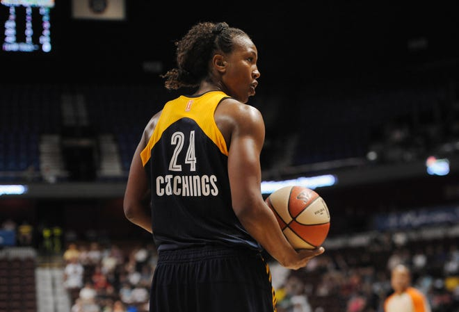 Indiana Fever's Tamika Catchings during overtime of a WNBA basketball game, Tuesday, July 28, 2015, in Uncasville, Conn. (AP Photo/Jessica Hill)