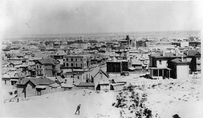 The El Paso skyline, about 1895, as seen from Mesa Garden atop the hill at North Santa Fe Street and West Boulevard (now Yandell Boulevard).
