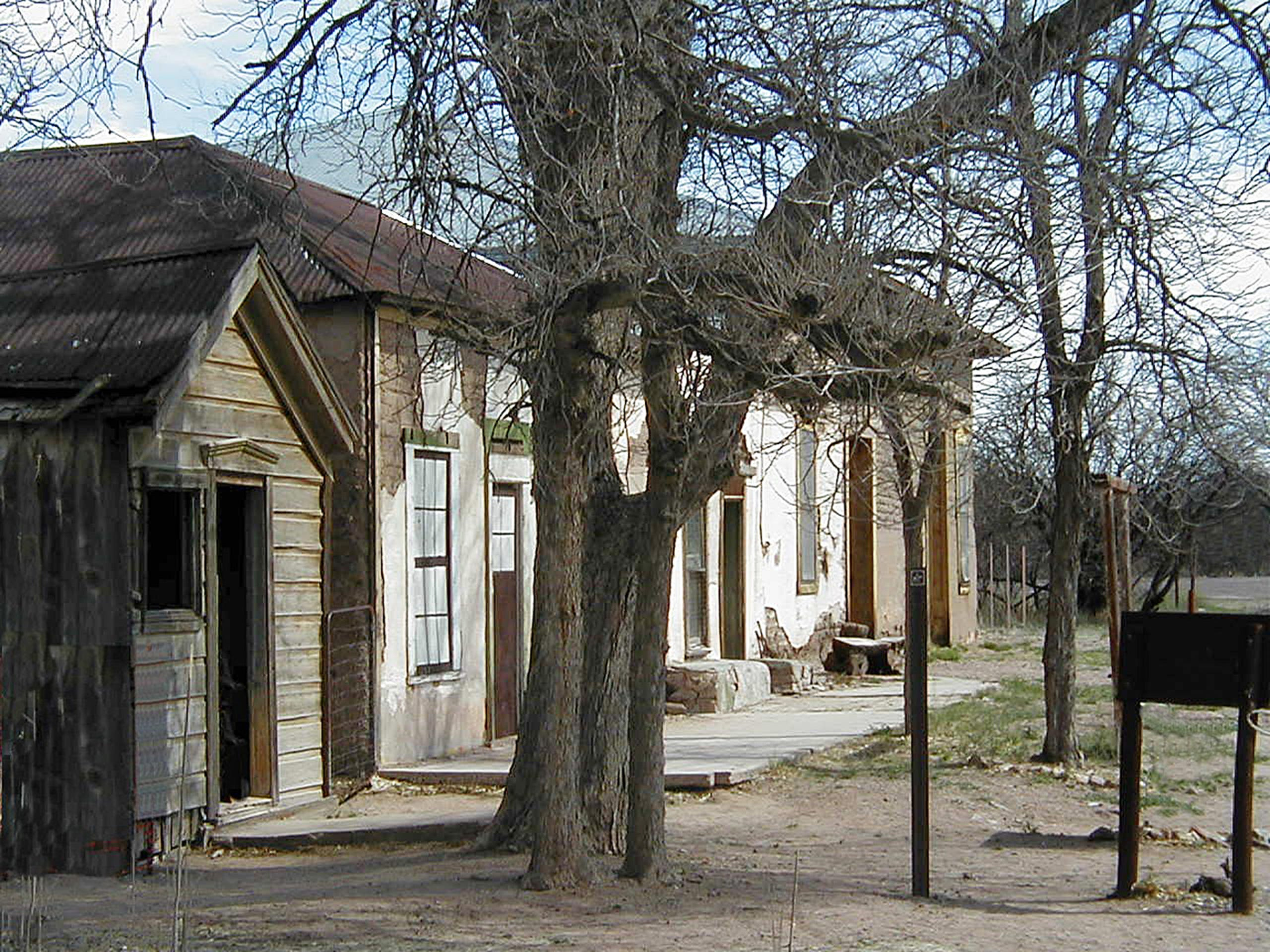 The ghost town of Fairbank includes a half dozen structures including a large mercantile building, a schoolhouse and a few homes, huddled in riverside mesquite groves.