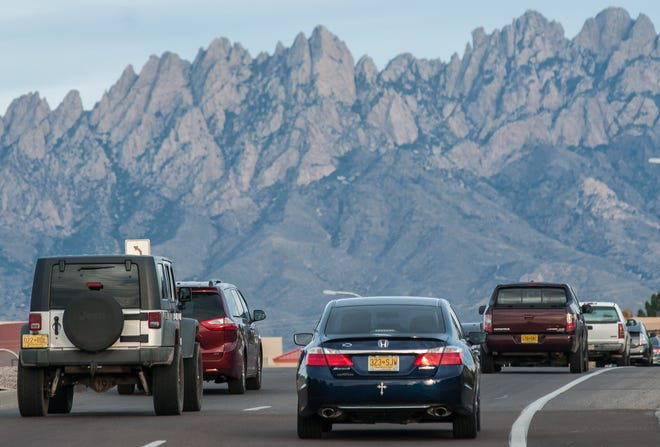Traffic flows eastbound along East Lohman Avenue on Monday. New Mexico drivers were recently ranked the second-worst in the nation — tied with South Carolina — by a national vehicle insurance website.
