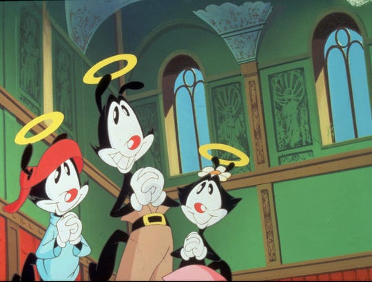 """Cartoon characters the Warner Brothers and their sister Dot appear in an episode of """"Animaniacs."""" '"""