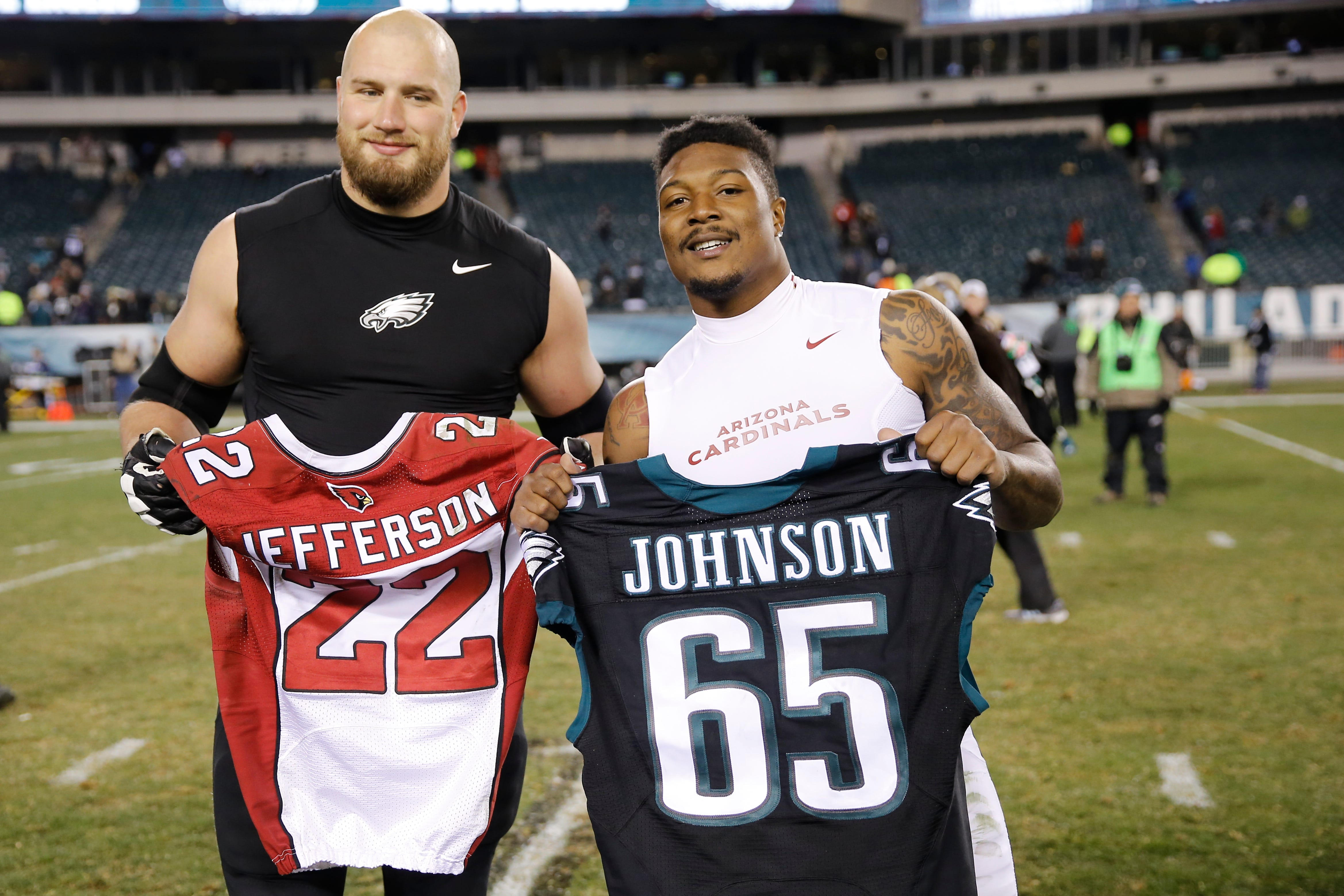 NFL players trading jerseys