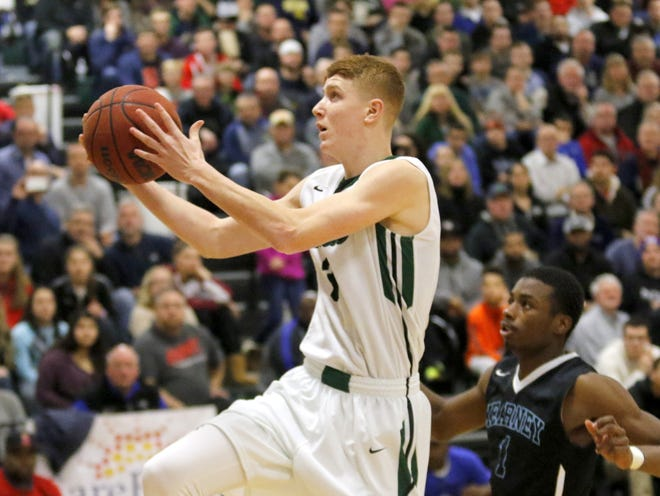 Shenendehowa's Kevin Huerter drives to the basket during the 2015 National Division title game against Bishop Kearney in the Josh Palmer Fund Tournament.