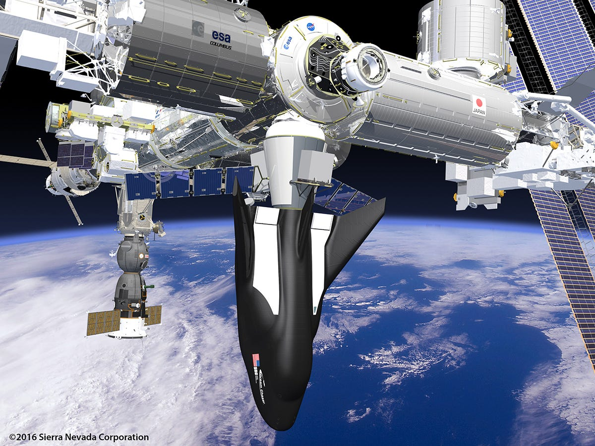 635883936791357540-snc-dc-sc-and-cargo-module-attached-to-ISS Dream Chaser mini-shuttle gets official launch window from NASA