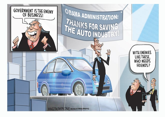 President Barack Obama visits the auto show in Detroit.