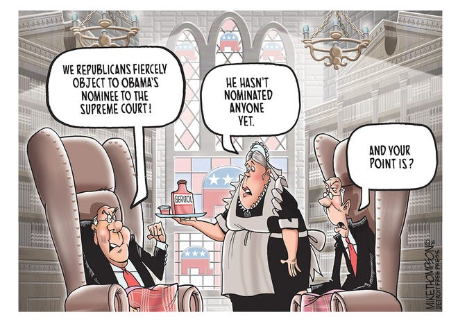 Replacing Justice Antonin Scalia on the United States Supreme Court.