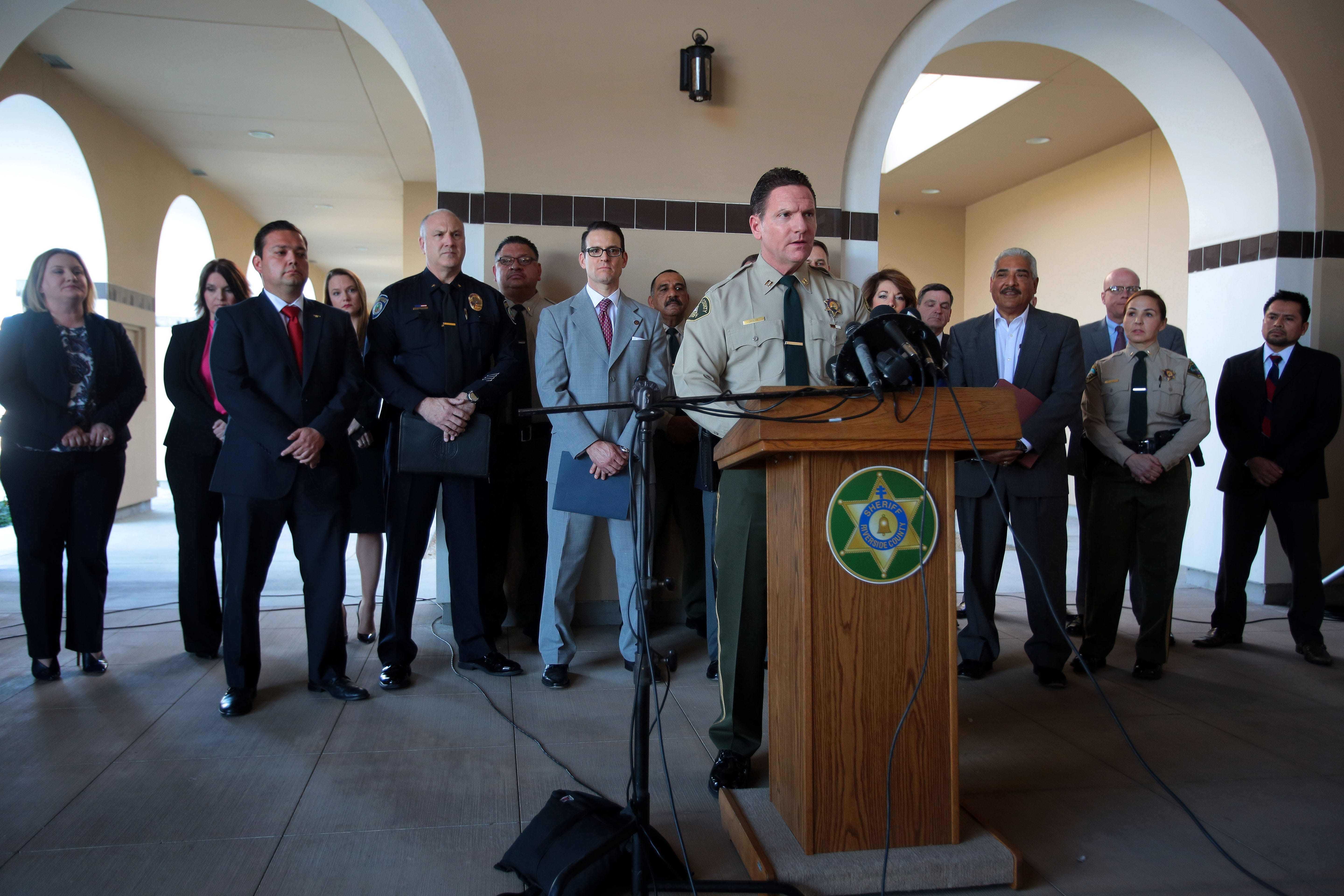 Riverside County Sheriff's Capt. Andrew Shouse speaks to the media after a multi-agency gang raid in Coachella on Feb. 25, 2016. Photo taken at the Riverside County Sheriff's Station in Thermal.