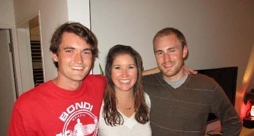 Silk Road darknet mastermind Ross Ulbricht is shown at left in a photo with friends and relatives that his defense team submitted to the sentencing judge in Ulbricht's conspiracy trial.