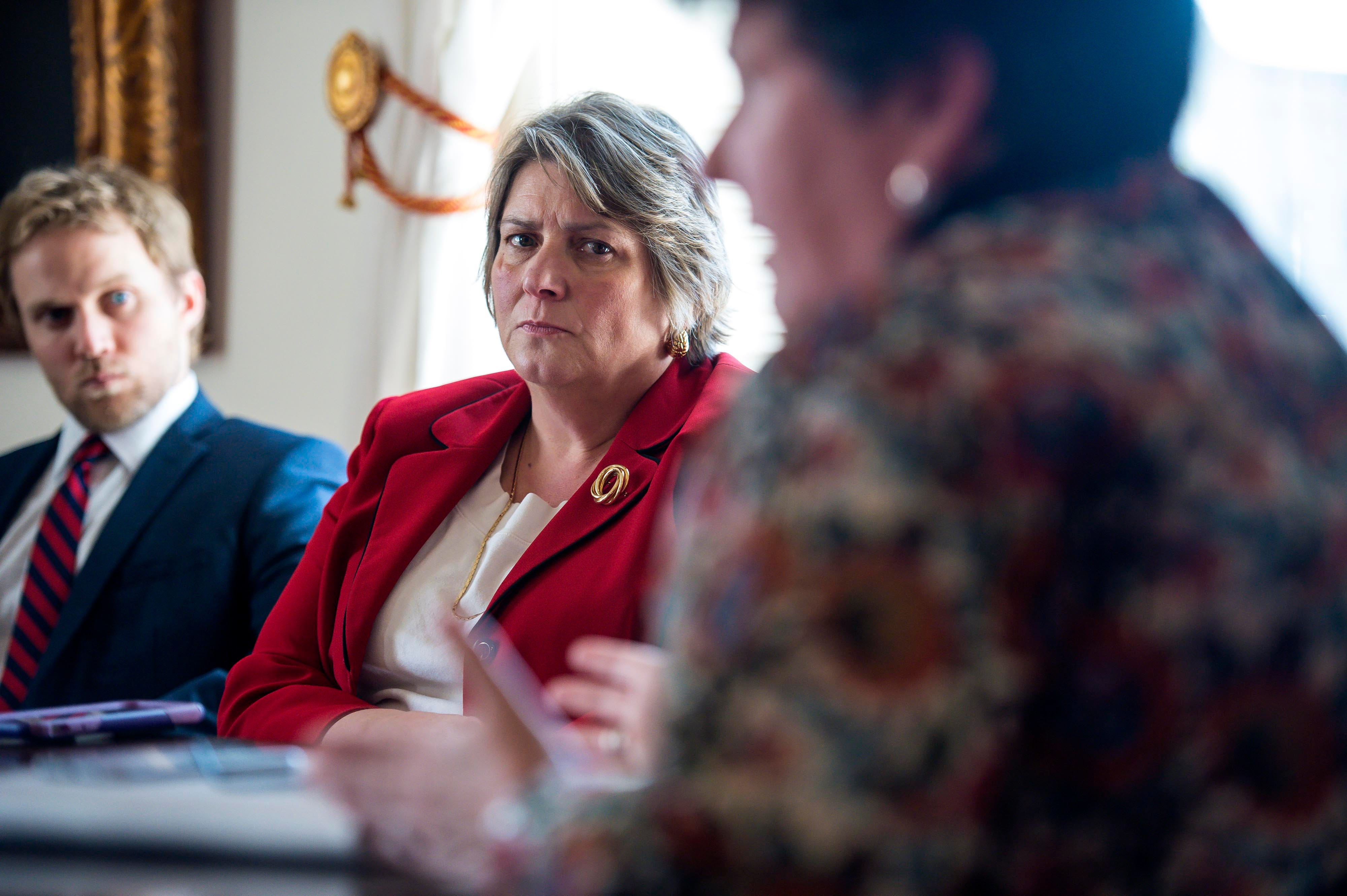 Patricia Moulton, Secretary of the Agency of Commerce and Community Development, center, discusses the Shumlin administration's oversight of the EB-5 program during an interview at the Statehouse in Montpelier on Wednesday, April 20, 2016.