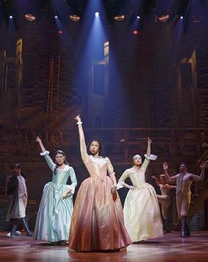 Phillipa Soo (left to right), Renee Elise Goldsberry and Jasmine Cephas Jones play the Schuyler sisters.
