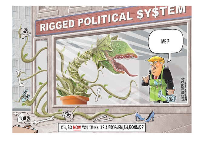 Donald Trump decries the rigged political system
