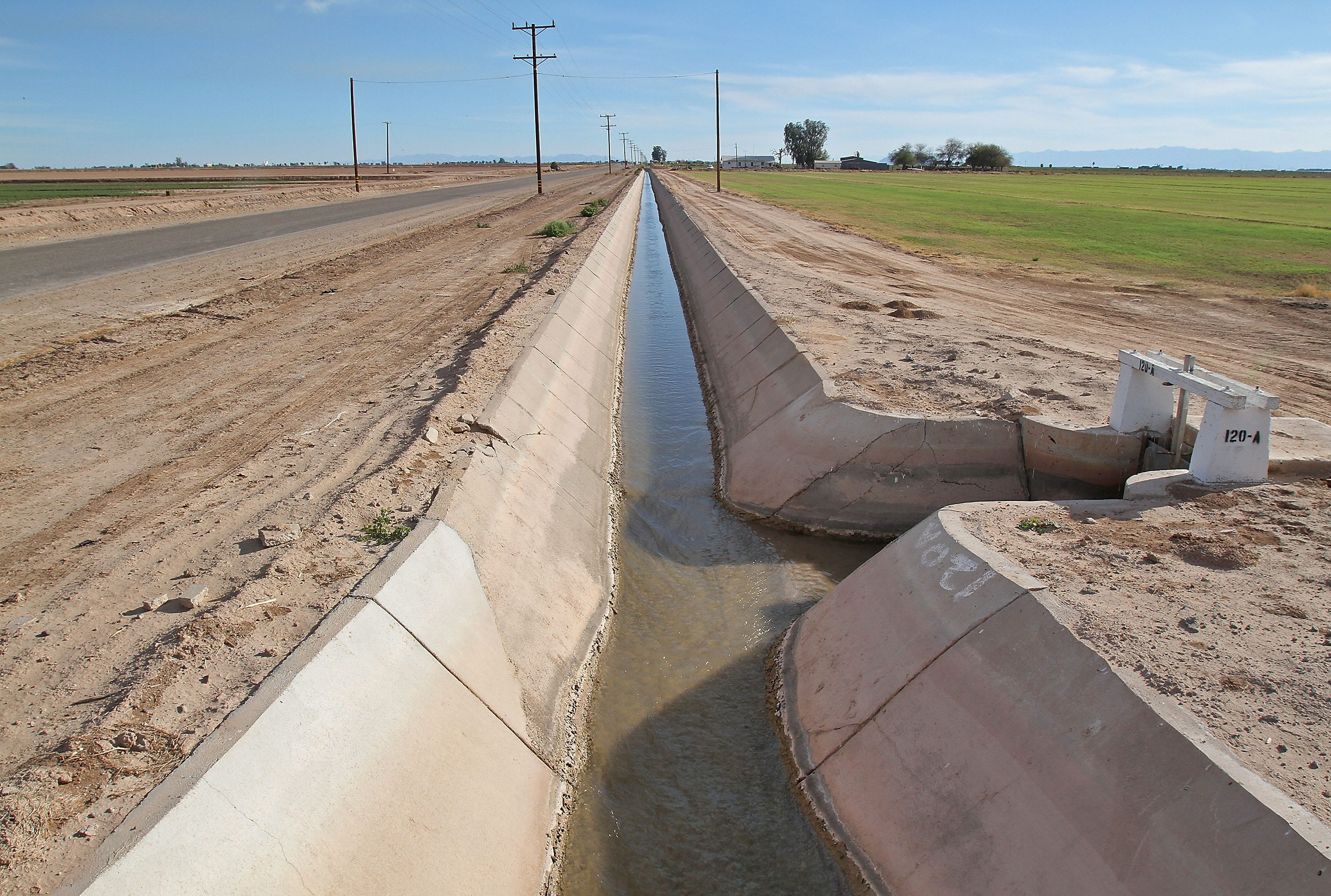 Water from the Colorado River flows to a farm near Brawley in California's Imperial Valley.